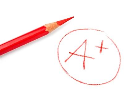 Mark A + mit rotem Stift auf weißem isoliert Standard-Bild - 15623864