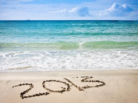 nuovo anno 2013 cifre sulla sabbia oceano spiaggia Archivio Fotografico