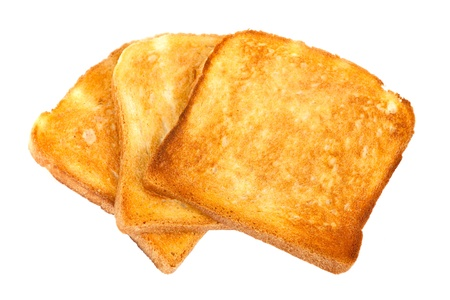 Crusty bread toast slice isolated on white background photo