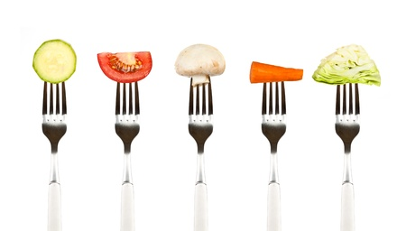 vegetables on the collection of forks, diet concept Stock Photo