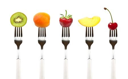 comidas saludables: frutas en la colecci�n de horquillas, la dieta y el concepto de alimentaci�n saludable Foto de archivo