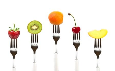 compositions: frutti sulla raccolta delle forche, la dieta e il concetto di sana alimentazione Archivio Fotografico