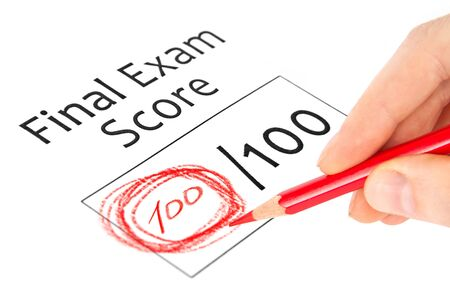 exam results: Final exam marked with 100  isolated on white  Stock Photo