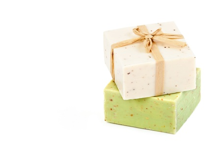 handmade element: Handmade Soap on a white background with space for text  Stock Photo