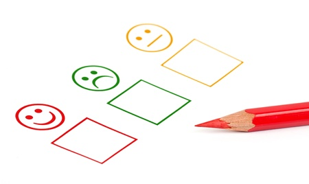 good mood: customer satisfaction questionnaire showing marketing or business concept Stock Photo