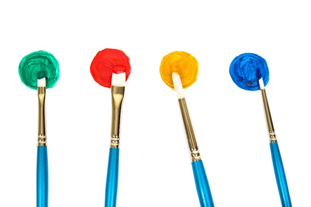 brash: Artists paint brushes and paint  Stock Photo