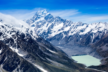 View of Mount Cook and lake, New Zealand