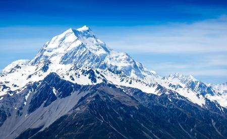 montañas nevadas: Montañas pico. Monte Cook. Nueva Zelandia