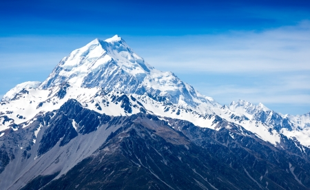 Mountains peak. Mount Cook. New Zealand Standard-Bild - 17925989