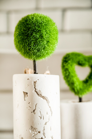 Beautiful white light Easter photo. Textured concrete vases in Loft style. A plant made of moss in the form of a ball and a heart. Place for your text