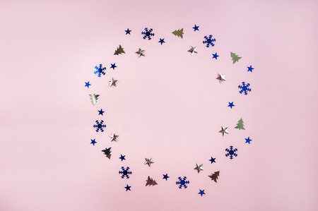 Background of the Christmas wreath. Winter holidays card