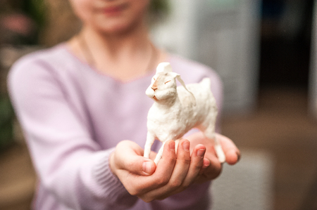 Children's hands are holding a white hare. Easter concept, tenderness, uniqueness, beauty. Bunny close up and copy space