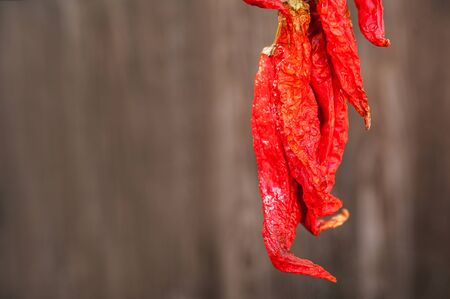 Dry and ripe chili peppers on a dark background close-up. Chili peppers and copy space. Cinco de mayo Stock Photo