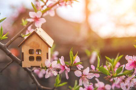 Das Konzept des Frühlingsanfangs. Miniaturhaus auf einer blühenden Zweignahaufnahme und Kopienraum. Holzhaus und Blumen als Postkarte für den Urlaub.