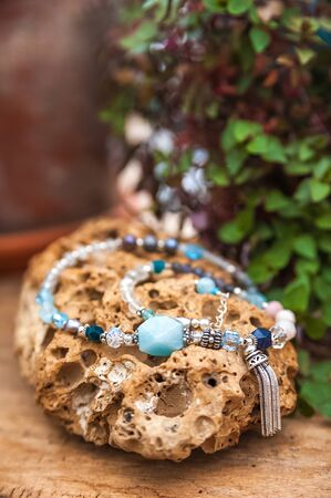 Jewelry with natural synthetic stone bracelet. Beautiful semiprecious stone beads. stone bracelet, Amulets. Jewelry that mixes fashion and fetish beliefs.