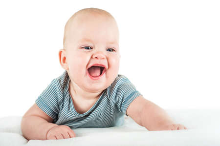 Close-up child in bodysuit isolated on white background. child care, child health, teething. funny toddler. 스톡 콘텐츠
