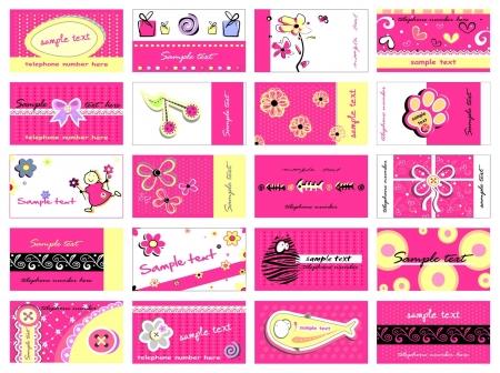 Set of 20 business cards for girls Illustration