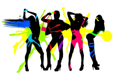 Abstract fashion girls in splashes Vector
