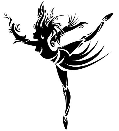 bailarines silueta: Dancing girl Abstract