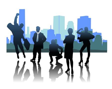 Set of silhouettes of businessmen Illustration