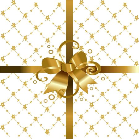 Gift background with golden bow