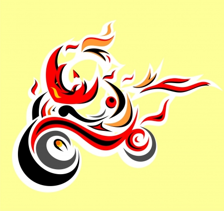 Abstract tribal motorcycle Vector