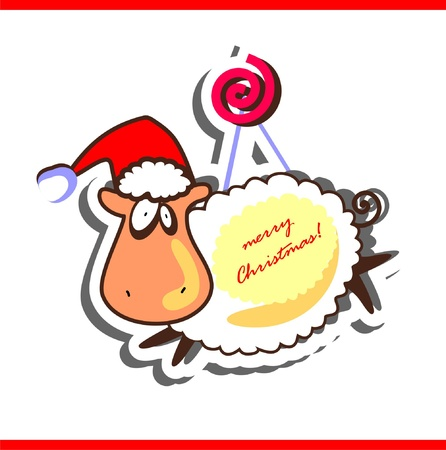 Christmas greeting card with funny sheep Vector