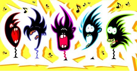 Crazy singers   Illustration