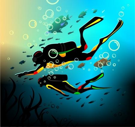 scuba diving: Duikers in een diepe onderdompeling Stock Illustratie