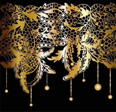 Golden lacy decor Vector