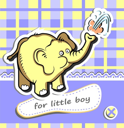 Baby boy shower card with funny elephant Stock Vector - 17013749