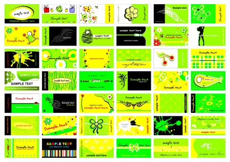 Set of 42 business cards in bright green