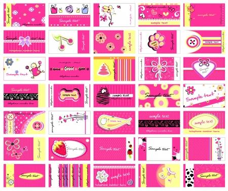 Set(2) of 35 business cards for ladies Illustration