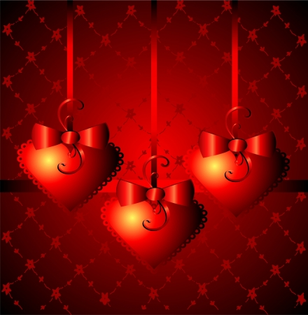 Gift background with heart s shapes Vector