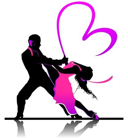 pareja bailando: Ilustraci�n d�a de San Valent�n con pareja de baile hermoso