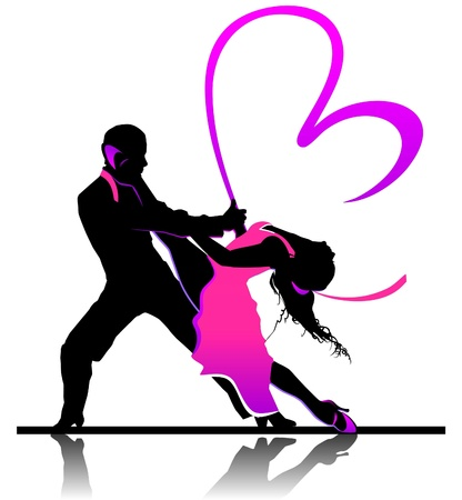 Valentines day illustration with beautiful dancing couple