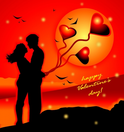 Romantic illustration with lovers Stock Vector - 17424556