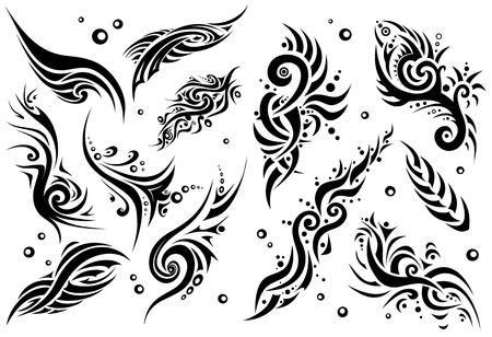 Set of 12 tribal tattoo  set 1   Illustration