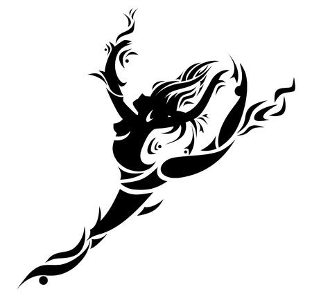 danseres silhouet: Abstracte dansend meisje Vector