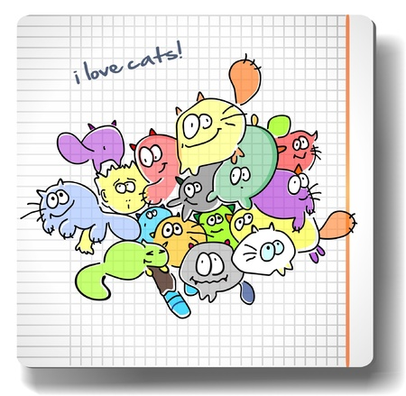 Funny colorful cats drawn by hand on a sheet of paper Stock Vector - 18555006