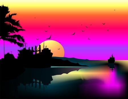 Tropical landscape  Illustration