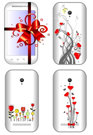 Gift female smart phone in white color with abstract flower design Stock Vector - 18866367
