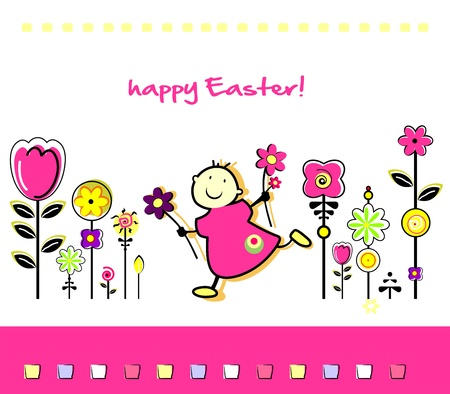 Funny Easter greeting card Stock Vector - 18866369