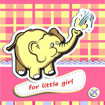 Baby girl shower card with funny elephant Stock Vector - 18961204