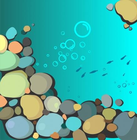 inmersion: Fondo marino con piedras multicolores Vectores