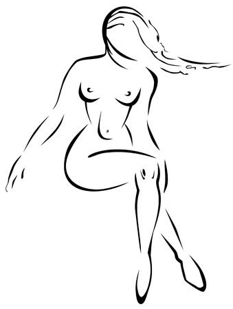 ni�a desnuda: Naked chica dibujo de contorno