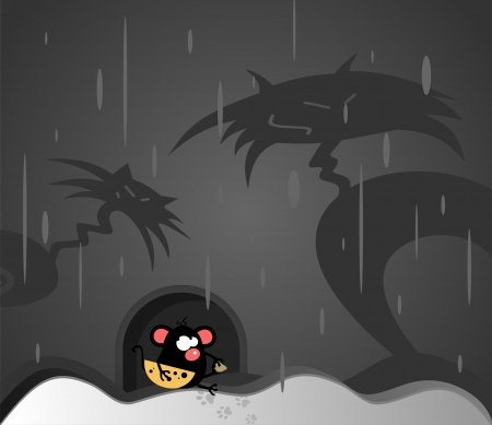 Vector illustration with funny mouse and an angry cat Vector