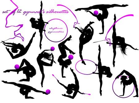 rhythmic gymnastic: Gymnast s silhouettes  Illustration