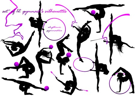 gymnasts: Gymnast s silhouettes  Illustration