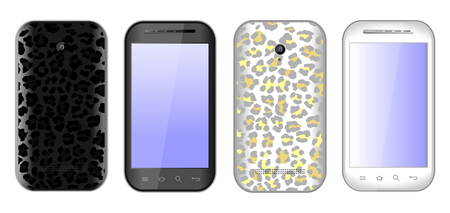 Vector smart phones in black and white with leopard print Vector